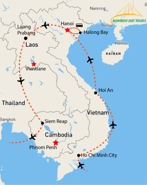 Map - INDOCHINA DELIGHT 16 DAYS
