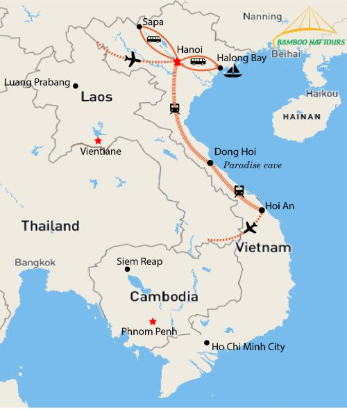 Map - NORTH AND CENTRAL HIGHTLIGHT OF VIETNAM 9 DAYS ADVENTURE WITH HALONG BAY - SAPA TREKKING - PARADISE CAVE - ZIPLINE - CHAM ISLAND SNORKELING